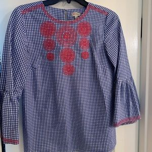 Cremieux bell sleeve top gingham print